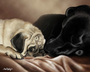 Black Lab Digital Art Metal Prints - Furry Friends Metal Print by Matt Upholz