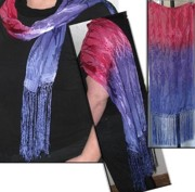 Bamboo Tapestries - Textiles - Fuschia and Periwinkle Silk Chiffon Scarf by Marta Mitchell