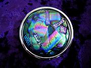 Fused Glass Jewelry - Fused Dichroic Glass Belt Buckle by Cydney Morel-Corton