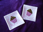 Couple Glass Art - Fused Glass Cupcake Plates by Michele Palenik