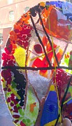 Fused Glass Prints - Fused Glass Hand Made Lamp Shades Print by Laura Miller