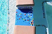 Featured Glass Art - Fused Glass Spillway in custom mosaic pool liner by Jolinda Marshall