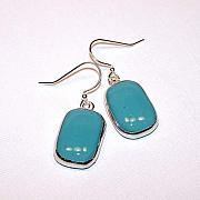 Fused Glass Jewelry - Fused Turquoise Earrings by Kelly DuPrat