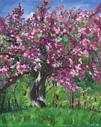 Fushia Painting Framed Prints - Fushia Crabapple Framed Print by Christina Plichta
