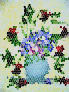 Fushia Prints - Fushias and Forget-me-nots Mosaic Art Print by Barbara Griffin