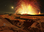 Outburst Prints - Future Astronauts Observe An Eruption Print by Ron Miller