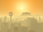 Science Fiction Framed Prints - Future Earth Cityscape, Artwork Framed Print by Walter Myers