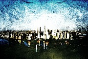 New York City Skyline Digital Art Framed Prints - Future Skyline Framed Print by Andrea Barbieri