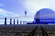 Utopia Digital Art - Futuristic City On A Planet At The Edge by Corey Ford