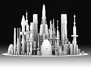 New Perspectives Metal Prints - Futuristic Cityscape, Artwork Metal Print by Pasieka