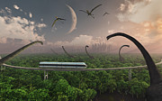Species Digital Art - Futuristic Concept Of A Monorail Ride by Mark Stevenson