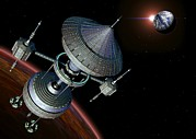 Spacecraft Photos - Futuristic Space Station, Artwork by Roger Harris