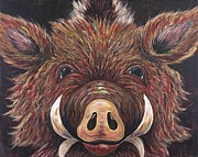Wild Boar Paintings - Fuzzy Hog by Shawna Elliott