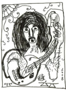 Guitar Drawings Posters - Fz Poster by Robert Wolverton Jr