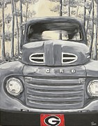 Georgia Bulldog Prints - GA Truck Print by James Norris