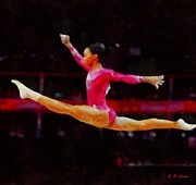 Gymnastics Paintings - Gabby Douglas by Elizabeth Coats