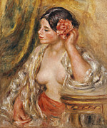 Cloth Paintings - Gabrielle a sa Coiffure by Pierre Auguste Renoir