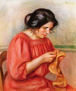 Mending Metal Prints - Gabrielle Darning Metal Print by Pierre Auguste Renoir