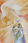 Annunciation Paintings - Gabriels Announcement by Donna Pierce-Clark