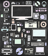 Electronic Framed Prints - Gadgets Icon Framed Print by Setsiri Silapasuwanchai
