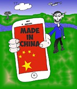 News Mixed Media - Gadgets Made In China Cartoon by OptionsClick BlogArt