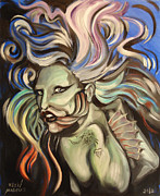Lady Gaga Paintings - Gaga Fish by Ellen Marcus