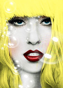 Rock Stars Mixed Media Posters - Gaga Poster by Mark Ashkenazi