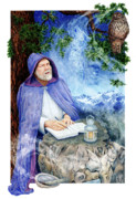 Wise Old Man Paintings - Gaian Tarot Hermit by Joanna Powell Colbert