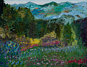 Impressionistic  On Canvas Paintings - Gails Mountain View by Tara Leigh Rose