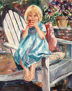 Gala Painting Framed Prints - Gala Apple Girl Framed Print by Janet Brice Parker