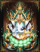Tibetan Art Framed Prints - Galactik Ganesh Framed Print by George Atherton