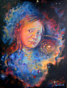 Outer Space Painting Metal Prints - Galaxy Girl Metal Print by Karen Roncari