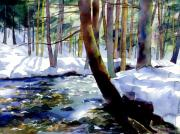 Snowy Stream Paintings - Galbraith Gap Run by Jeff Mathison