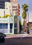 Building Painting Framed Prints - Gale Cafe on Wilshire Blvd Los Angeles Framed Print by Mary Helmreich