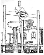 Illinois Drawings - Galena Illinois LandmarkTrain Station by Robert Birkenes