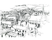 River View Drawings - Galena Illinois View of Town by Robert Birkenes