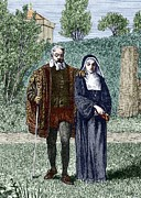 Sienna Italy Metal Prints - Galileo And His Daughter Maria Celeste Metal Print by Sheila Terry