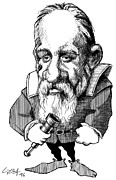 Caricature Prints - Galileo Galilei, Caricature Print by Gary Brown