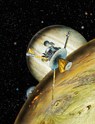 Geologically Framed Prints - Galileo Spacecraft with Io and Jupiter Framed Print by David A Hardy and Photo Researchers