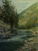 Gallatin River Painting Framed Prints - Gallatin River Framed Print by James Corwin