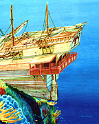 Galleons Tapestries Textiles - Galleon on the Reef 2 filtered by Duane McCullough