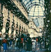 Italian Shopping Framed Prints - Galleria Milan Framed Print by Linda Scharck