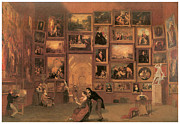 Gallery Art Paintings - Gallery of the Louvre by Samuel Morse