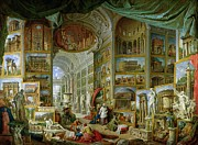 Antique Sculpture Framed Prints - Gallery of Views of Ancient Rome Framed Print by Giovanni Paolo Pannini