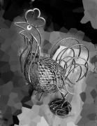 Iron  Sculpture Originals - Gallo  by Ricardo  Lopez