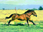 Brown Toned Art Painting Prints - Gallope Print by Odon Czintos
