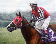 Horseracing Prints - Galloping Back Print by Thomas Allen Pauly