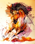 Abstract Wildlife Paintings - Galloping horse by Steven Ponsford
