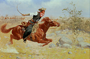 Blue Sky Canvas Posters - Galloping Horseman Poster by Frederic Remington
