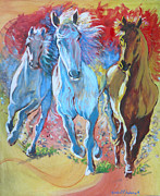 Wild Horses Painting Prints - Galloping on Print by Tomas OMaoldomhnaigh